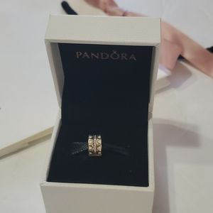 Pandora Charm New with bag silver and white